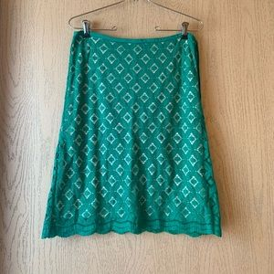 Green and white eyelet midi skirt